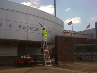 Power Washing Concrete Stadiums and Buildings
